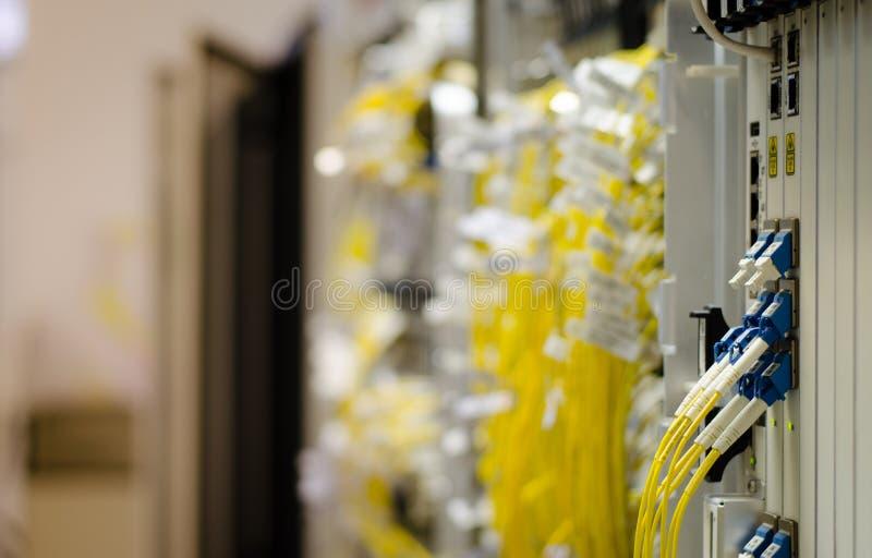 Стекловолокно соединяется к оборудованию карточки использовано в радиосвязи Выберите фокус стоковое фото