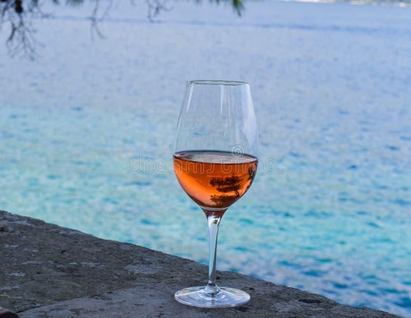 Стекло вина Rosé, сосны отражая в стекле стоковые изображения