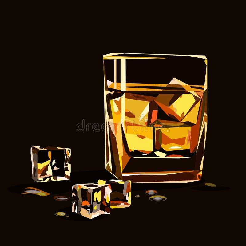 Стекло вискиа изолированное с кубами льда иллюстрация штока