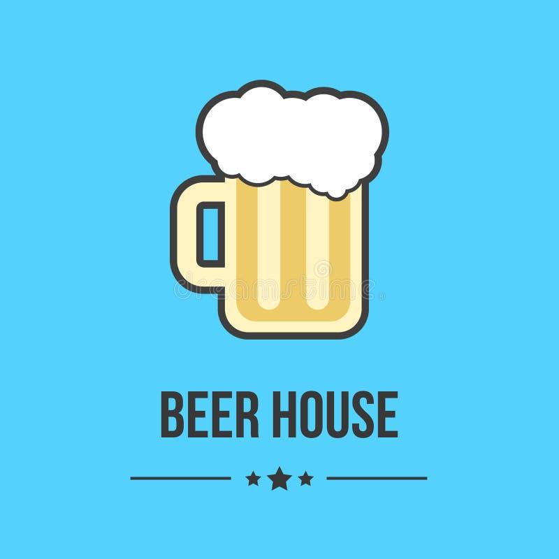 Стекло пива изолированное на голубой предпосылке бесплатная иллюстрация