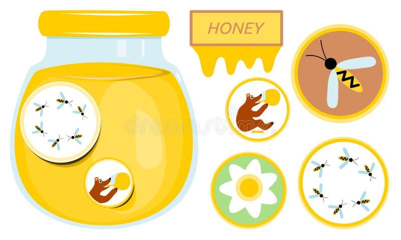 Стекло с медом Собрание стикеров с медведем, пчелой и цветком иллюстрация штока