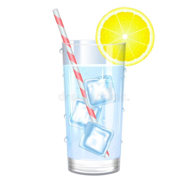 Стекло чисто воды с льдом и лимоном также вектор иллюстрации притяжки corel иллюстрация штока