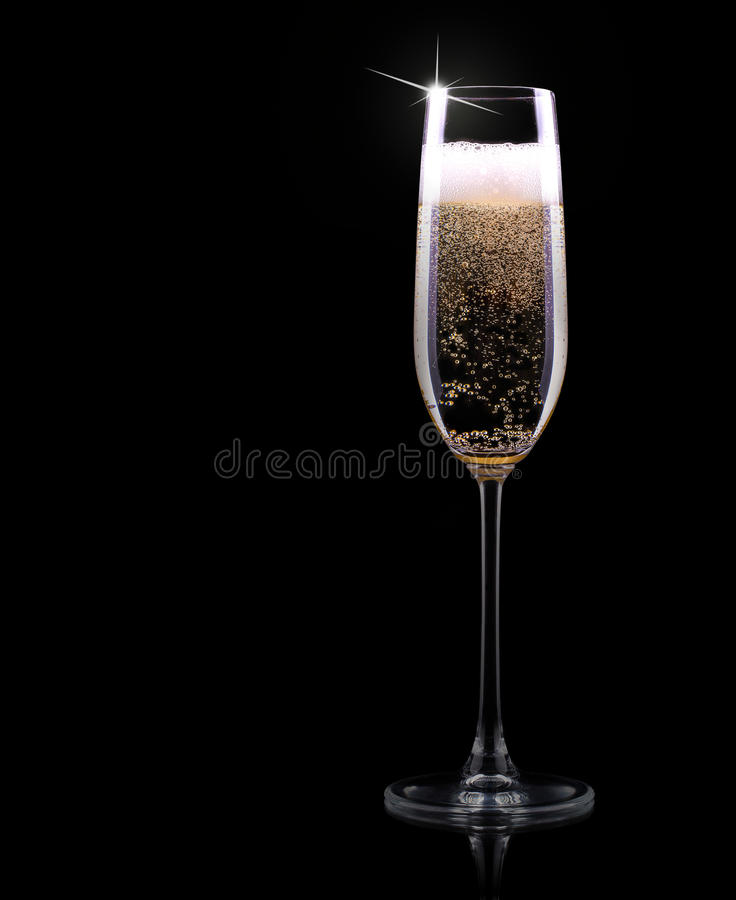 Стекло Шампани на черной предпосылке стоковое фото rf