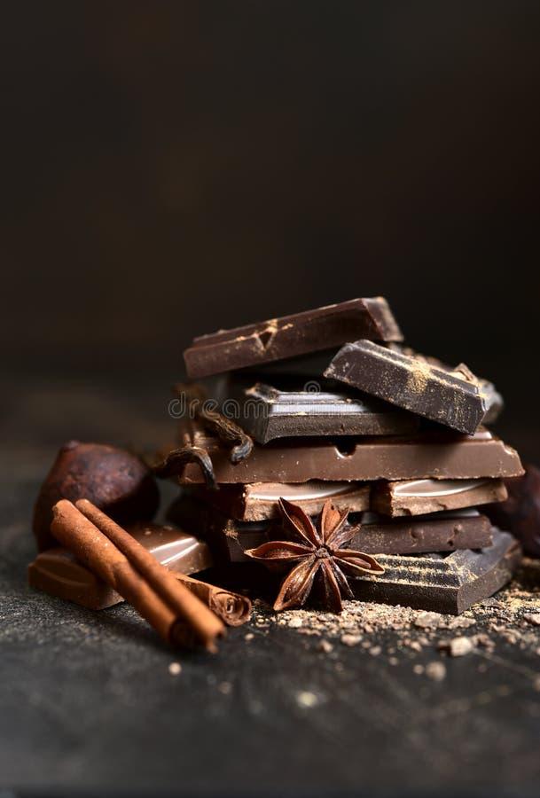 Стек шоколадных кусочков со специями стоковые изображения rf