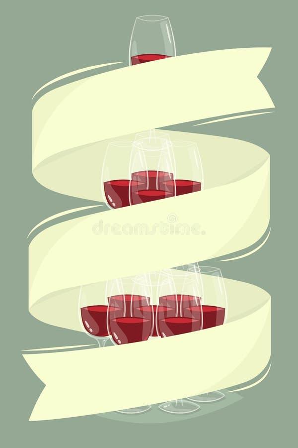 Стеклянная башня вина с знаменем бесплатная иллюстрация
