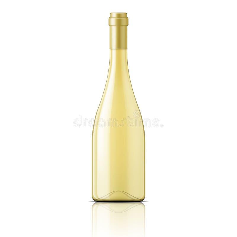 Стеклянная бутылка заполненная с белым вином иллюстрация штока
