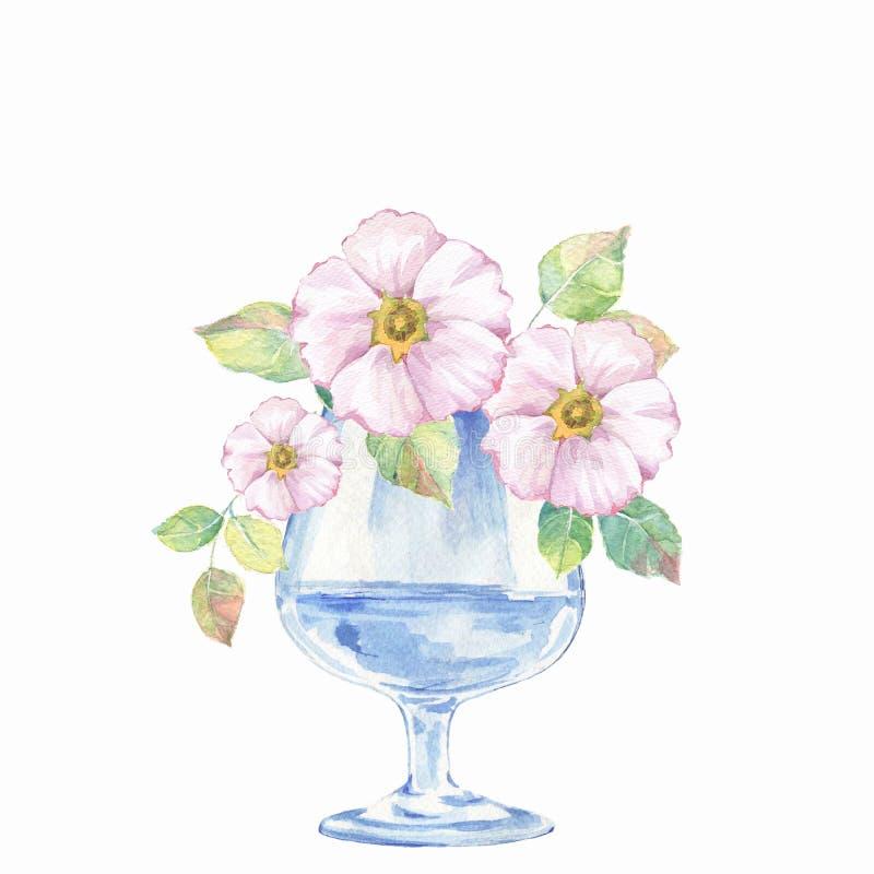Стеклянная ваза с цветками 2 иллюстрация вектора