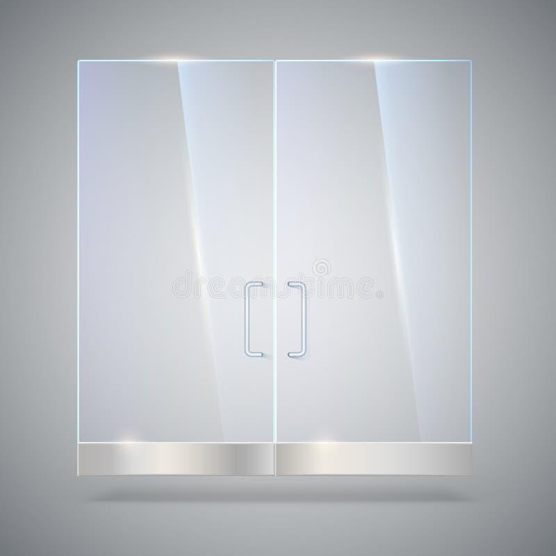 Стеклянная дверь с отражением и тенями, на серой предпосылке Иллюстрация вектора 3d Прозрачная стеклянная дверь, для бесплатная иллюстрация