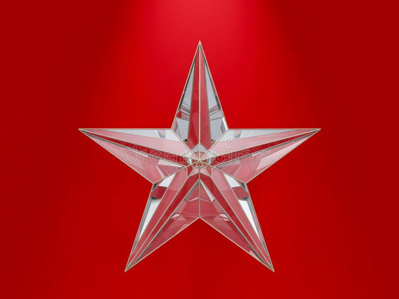 Стеклянная звезда рождества изолированная на красной предпосылке 3d бесплатная иллюстрация