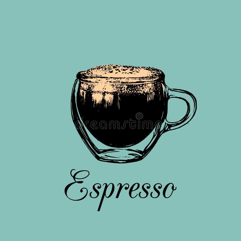 Стеклянная кружка, чашка кофе Иллюстрация эспрессо вектора Вручите вычерченный эскиз безалкогольного напитка для бара, дизайна ме иллюстрация штока