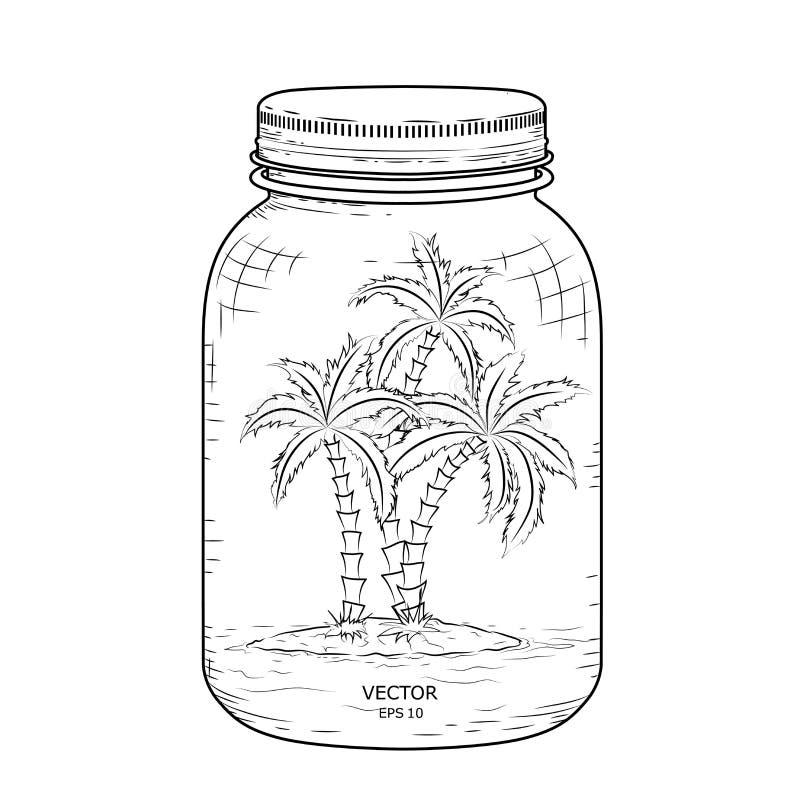 стеклянная крышка опарника Остров с пальмами внутри стеклянного опарника также вектор иллюстрации притяжки corel иллюстрация штока