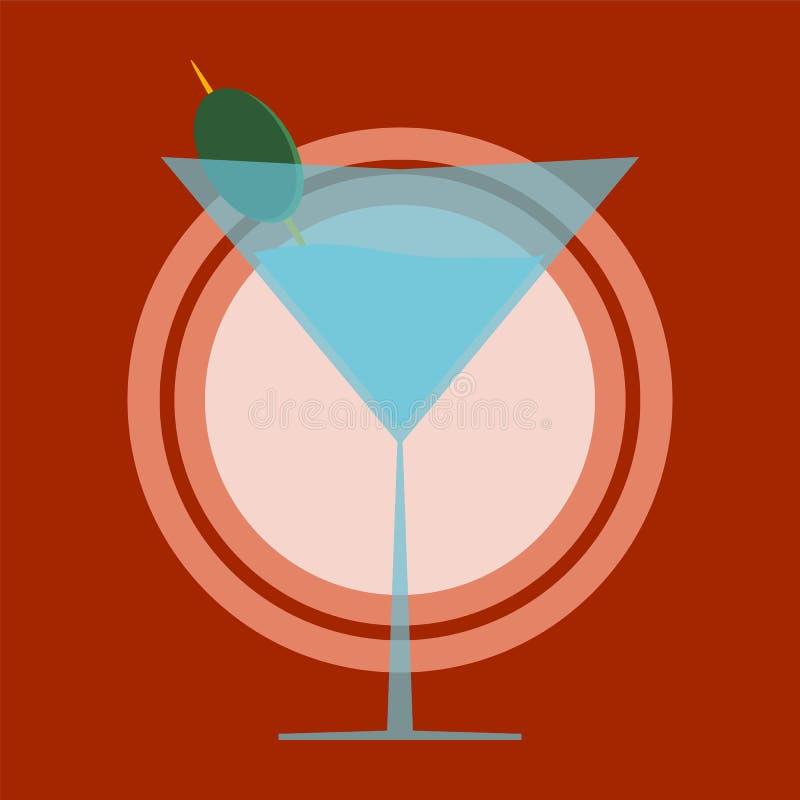 стеклянная оливка martini иллюстрация вектора