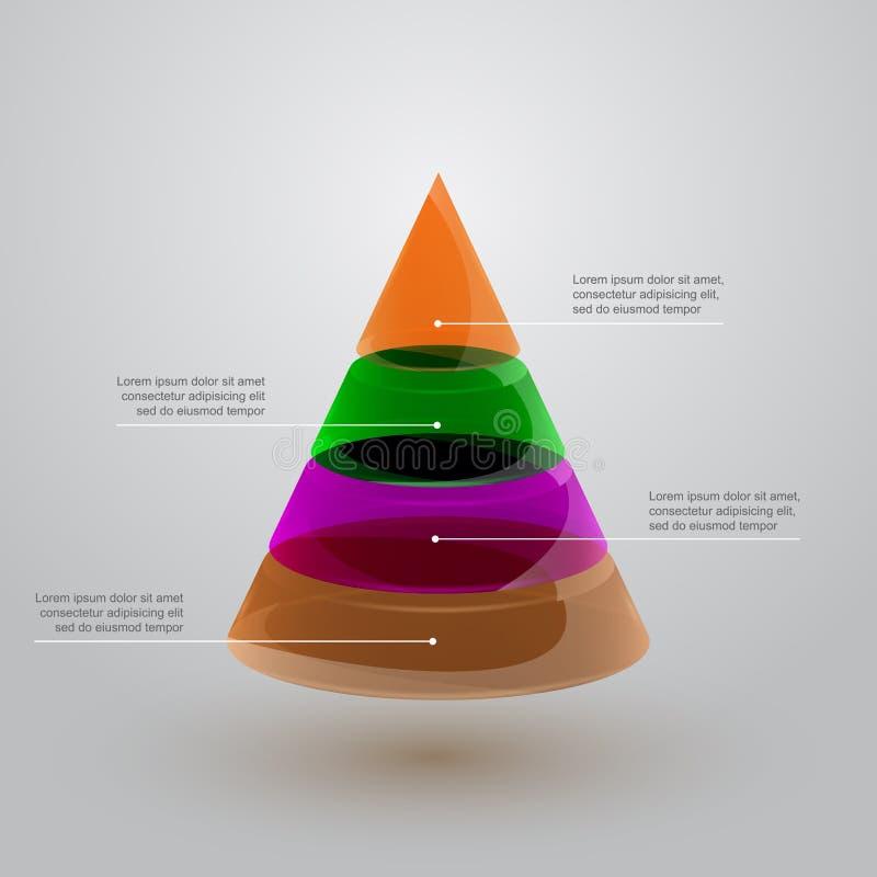 Стеклянная пирамида infographic иллюстрация штока