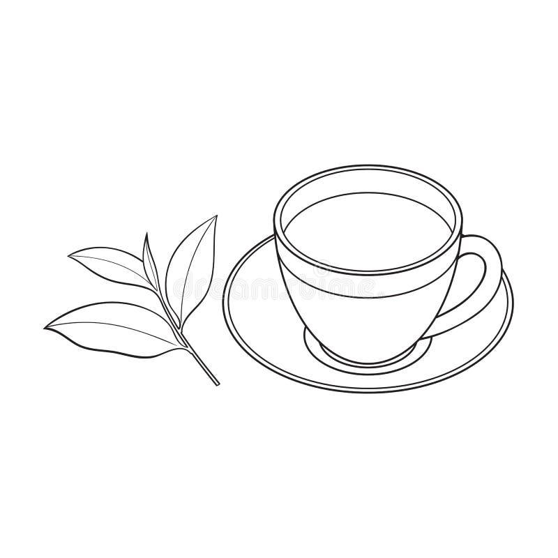 Стеклянная чашка, поддонник и свежий чай листают иллюстрация штока