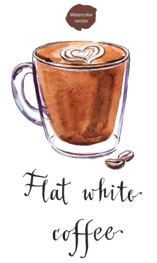 Стеклянная чашка плоского белого кофе иллюстрация штока