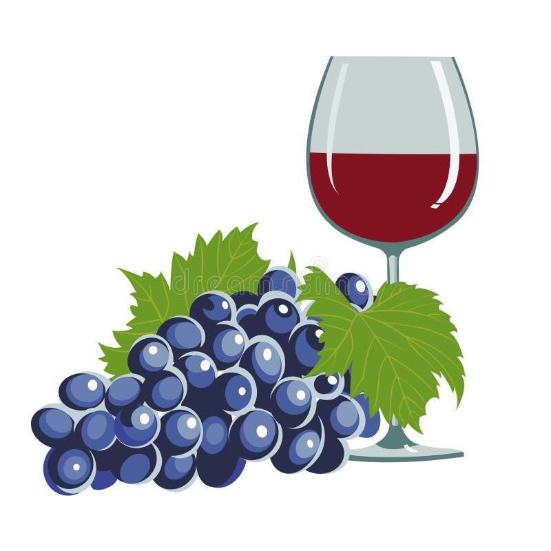 стеклянное вино виноградин иллюстрация штока