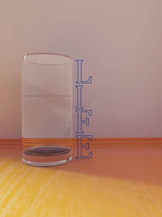Стеклянное острословие вода на таблице, 3d иллюстрация штока