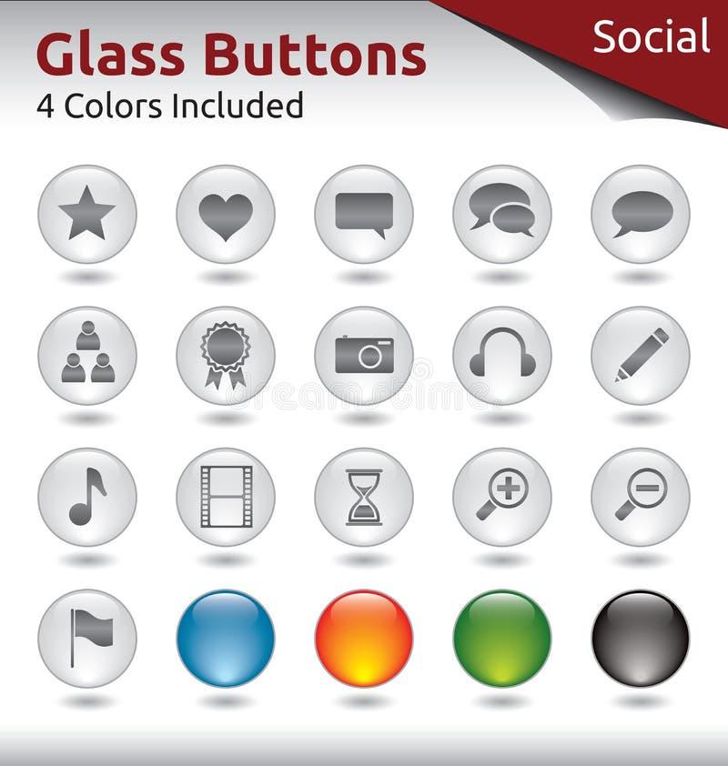 Стеклянные кнопки - социальные средства массовой информации иллюстрация штока