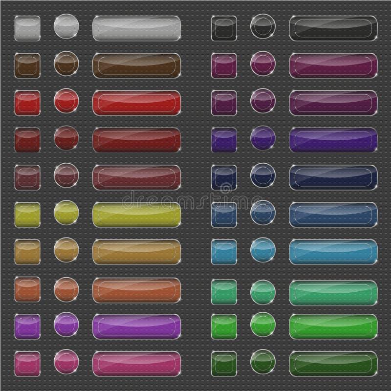Стеклянные прозрачные сияющие установленные кнопки иллюстрация штока