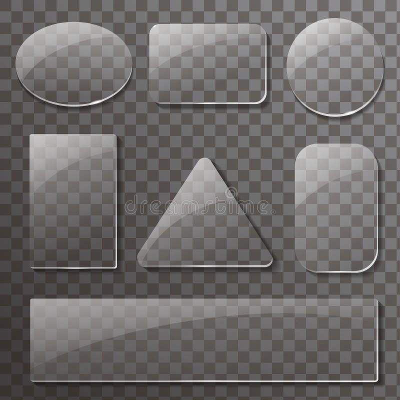 Стеклянные прозрачные установленные плиты Кнопки вектора прямоугольные и круглые иллюстрация вектора