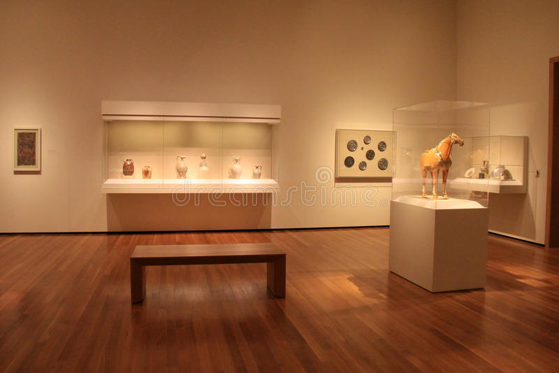 Стеклянные случаи и постаменты, с мягкими светами на различных артефактах, музей изобразительных искусств Кливленда, Огайо, 2016 стоковое изображение rf
