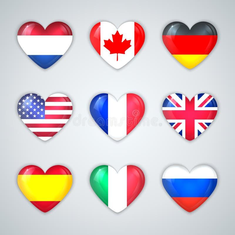 Стеклянные флаги сердца комплекта значка стран. иллюстрация вектора
