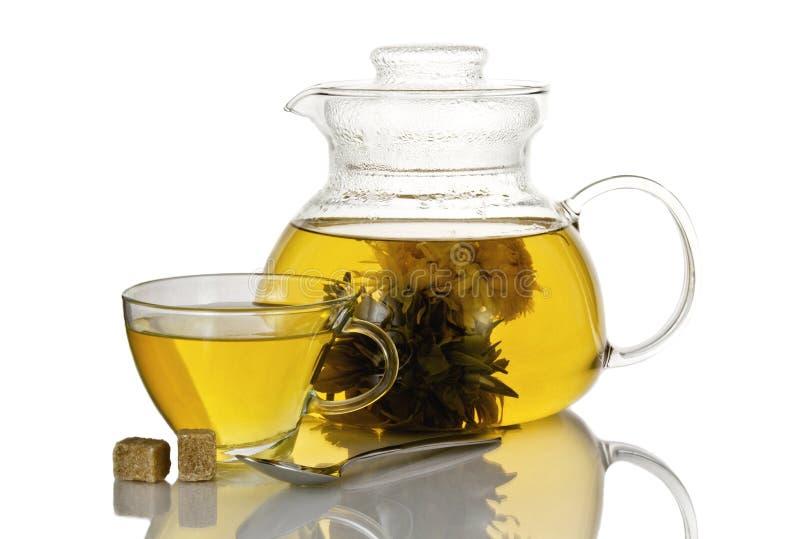 Стеклянные чашка и чайник японского зеленого чая дальше изолированного на белой предпосылке стоковое изображение rf
