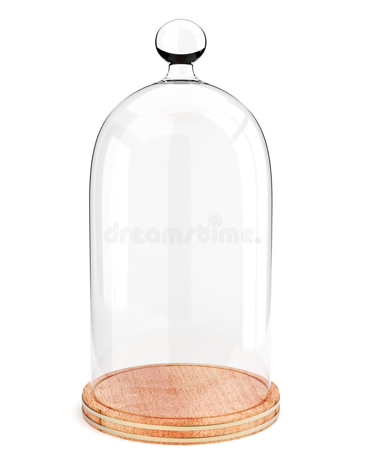 Стеклянный купол на деревянной плите на белой предпосылке иллюстрация вектора