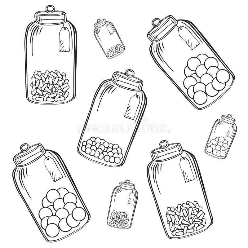 Стеклянный опарник конфеты иллюстрация вектора