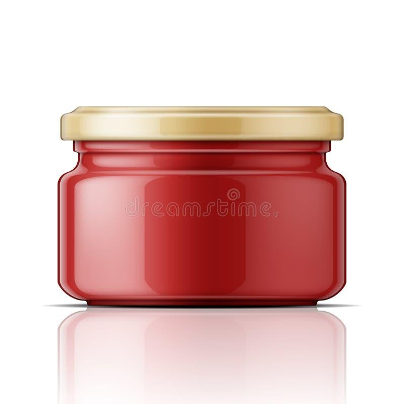 Стеклянный опарник с томатным соусом иллюстрация вектора