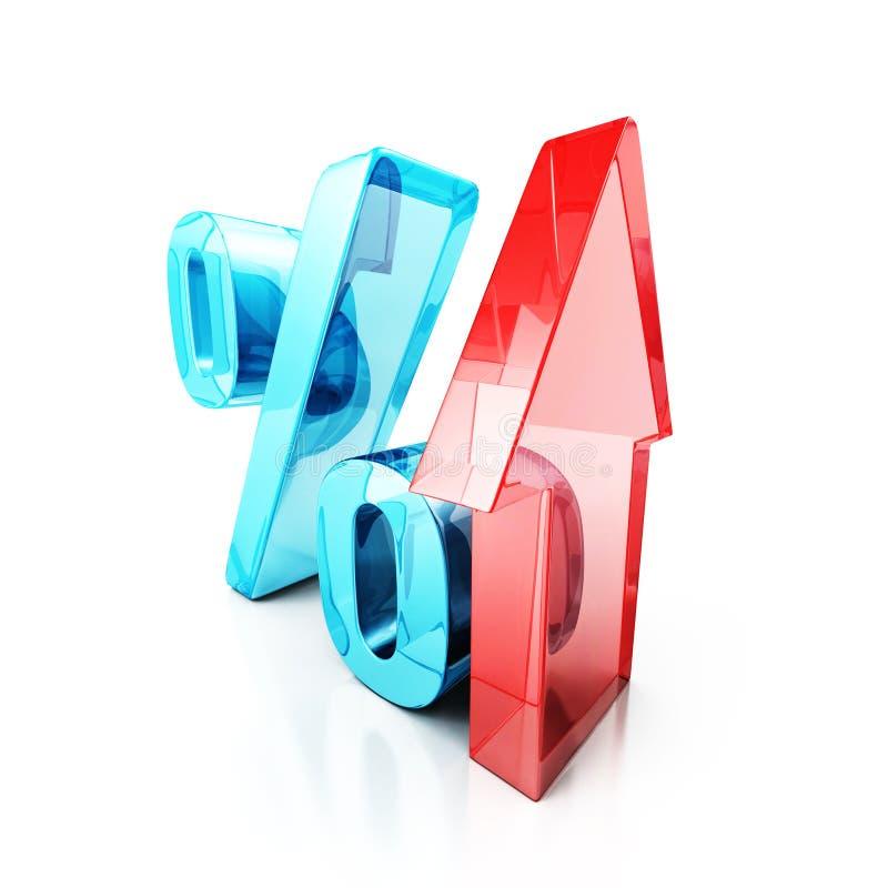 Стеклянный символ процента с расти вверх красная стрелка иллюстрация вектора
