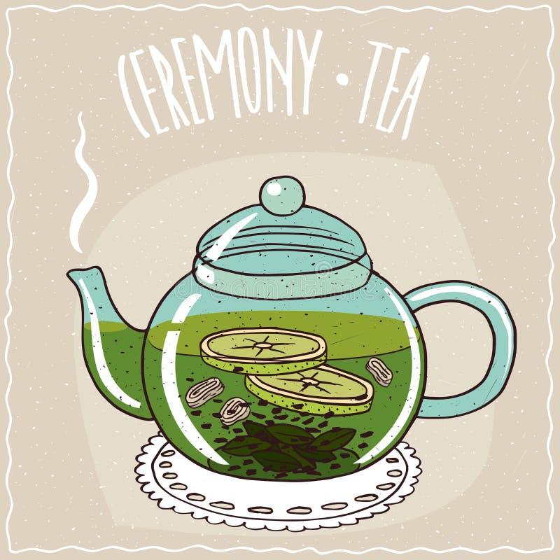 Стеклянный чайник с чаем с имбирем и известкой иллюстрация штока