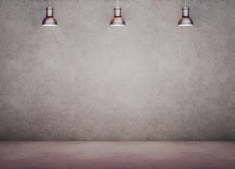 Стена, бетон, предпосылка, свет, промышленный, внутренний, комната, лампа, старый, винтажный, привесная, пол, космос, смертная ка иллюстрация вектора
