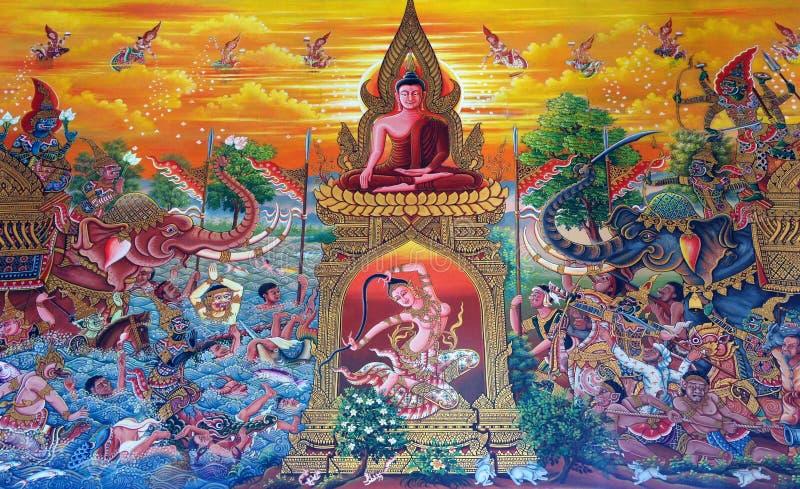 стена виска искусства тайская стоковые фотографии rf