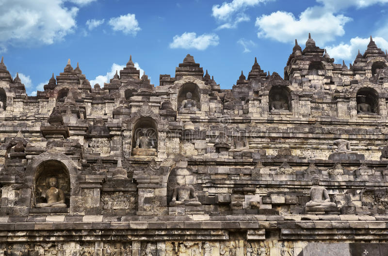 Стена виска Borobudur в Yogyakarta стоковое изображение rf