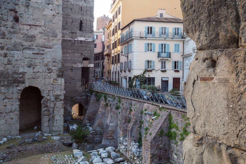Стена в форуме августов в Риме, Италии стоковое изображение rf