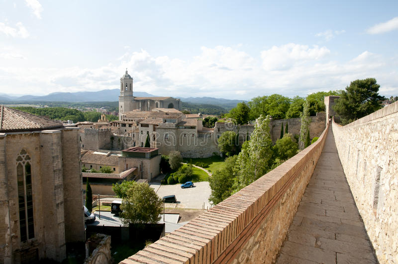Стена города - Херона - Испания стоковое фото rf