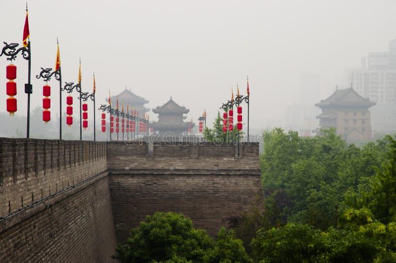Стена города - Xian - Китай стоковые фотографии rf