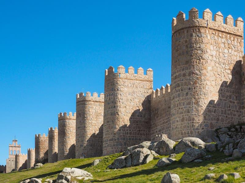 Стена городка Авила, Испании стоковое фото rf
