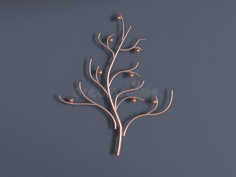 стена дерева меди золота металла конспекта перевода 3d серая иллюстрация штока