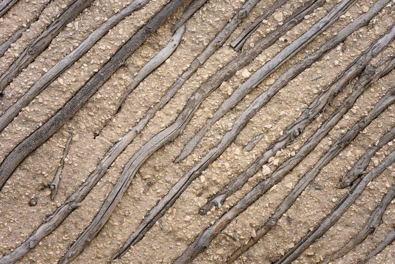 Стена естественных древесины и глины стоковое изображение rf