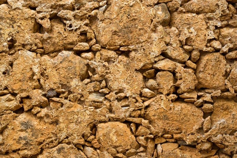 Стена камн-глины текстуры Rethymno, Крит стоковое фото