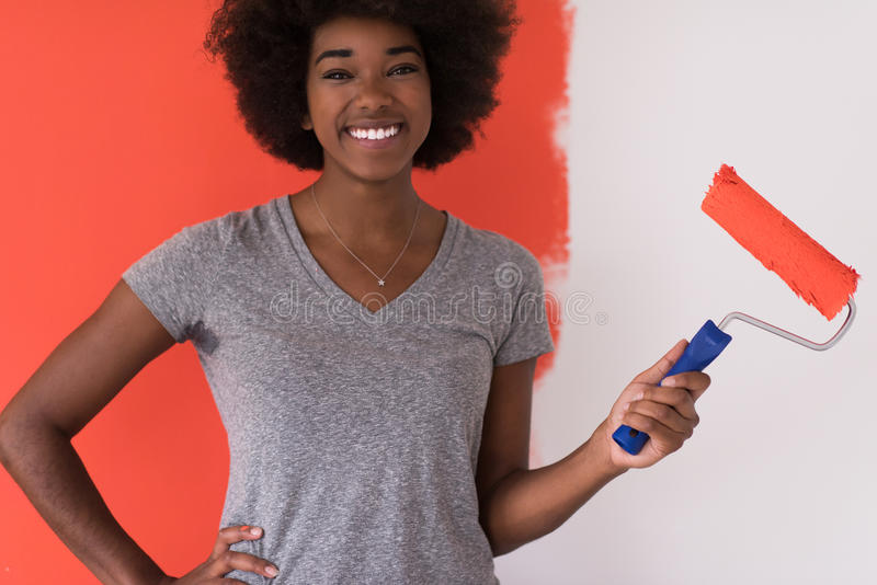 Стена картины чернокожей женщины стоковое изображение