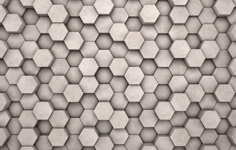Стена конкретных шестиугольников иллюстрация штока