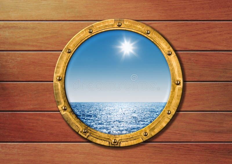 стена корабля porthole деревянная стоковые изображения