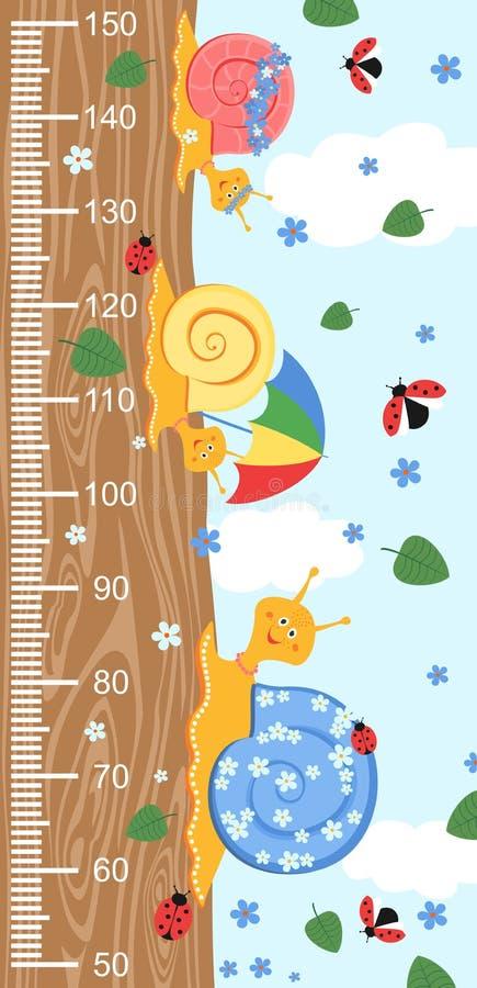 Стена метра детей с милой усмехаясь улиткой шаржа на древесине и измеряя правителе Vector иллюстрация улитки изолированная на ба  стоковое фото rf