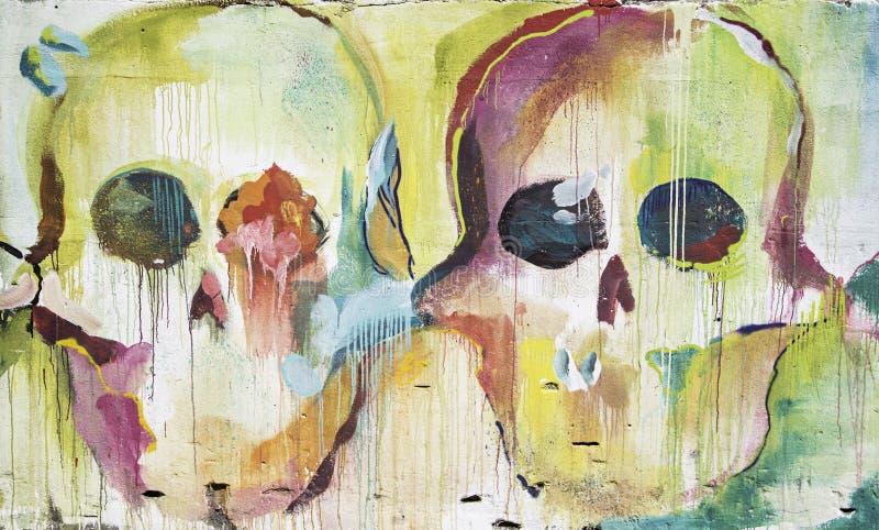 Стена покрашенная черепами стоковое изображение rf