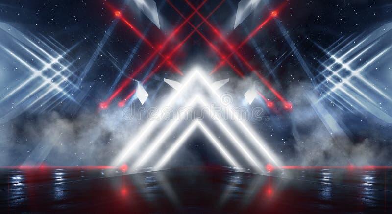 Стена предпосылки с неоновыми линиями и лучами Коридор предпосылки темный с неоновым светом Абстрактная предпосылка с линиями и з иллюстрация штока