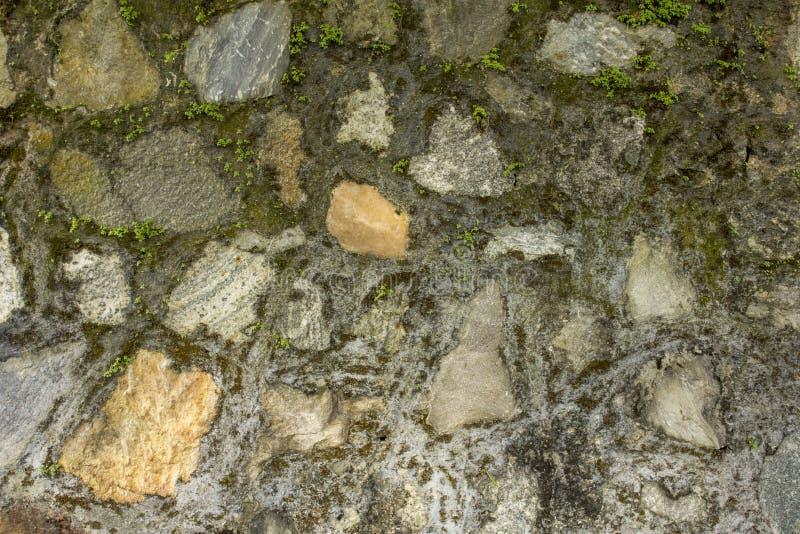 Стена различных больших естественных камней с небольшой зеленой растительностью Стена с мхом грубая текстура поверхности стены стоковые фотографии rf