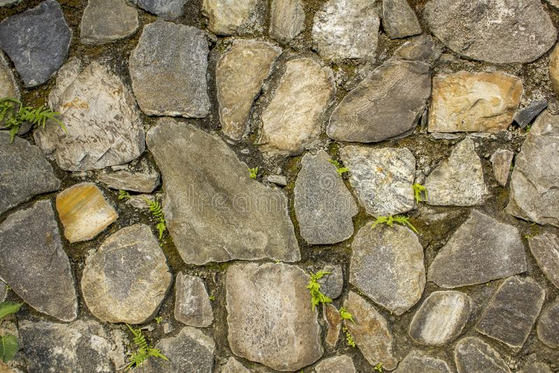 Стена различных больших естественных камней с небольшой зеленой растительностью Стена с мхом грубая текстура поверхности стены се стоковые изображения rf